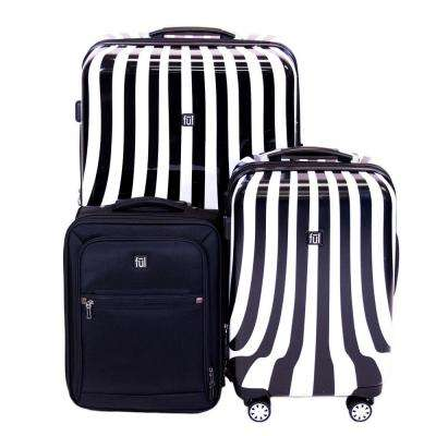 White Swirl 3-Piece Black and White Stripe Suitcases Luggage Set