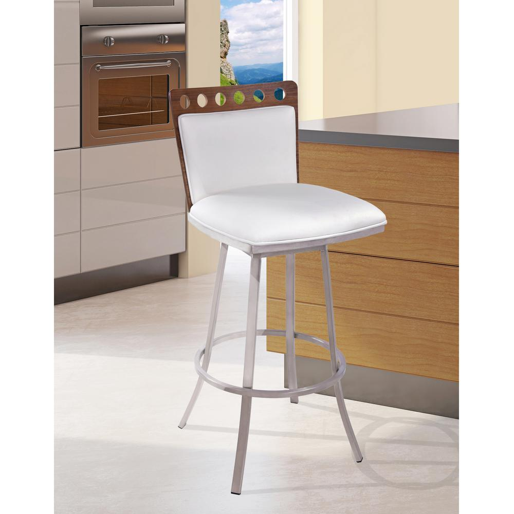 Elegant Armen Living Coco 30 In. White Faux Leather With Brushed Stainless Steel  Finish And Walnut