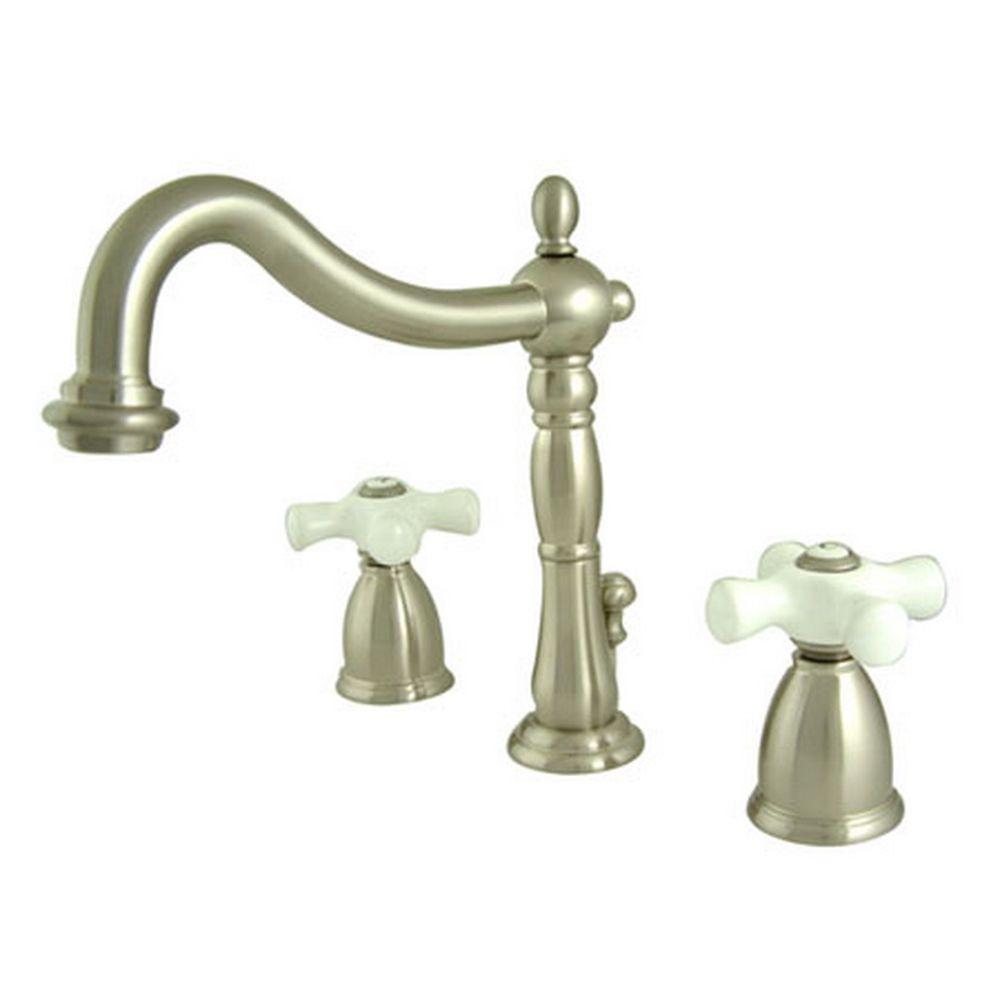 Victorian 8 in. Widespread 2-Handle Bathroom Faucet in Satin Nickel