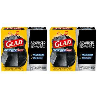 30 Gal. Black Drawstring ForceFlexPlus Large Trash Bags (50-Count, 2-Pack)