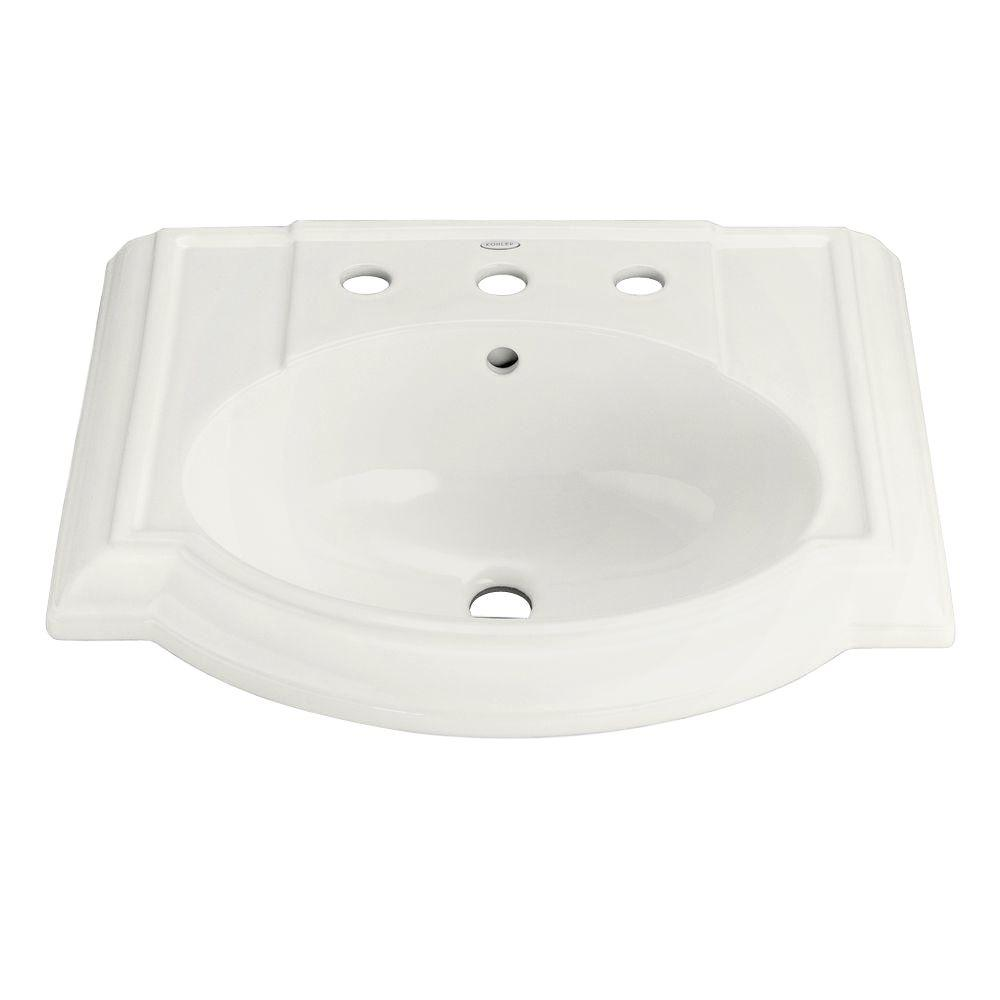 Devonshire Vitreous China Pedestal Sink Basin in White