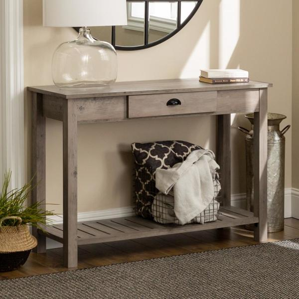 Country 48 in. Gray Wash Standard Rectangle Wood Console Table with Drawers
