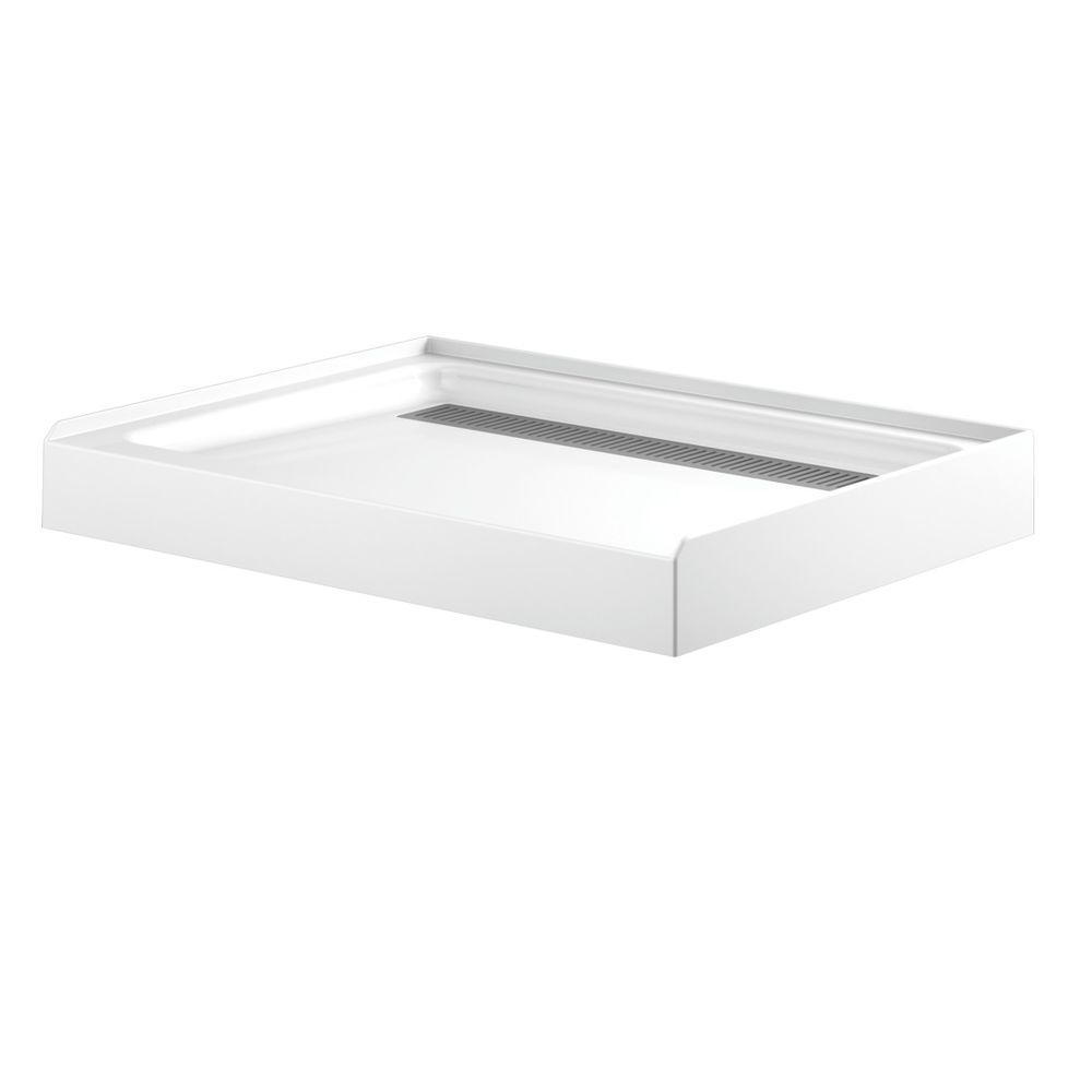Delta 36 in. x 48 in. Single Threshold Corner Shower Base in White ...
