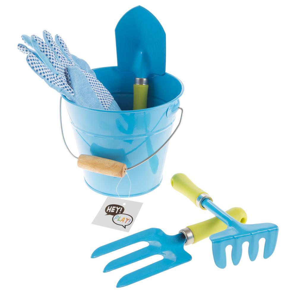 Kid's Blue Garden Tool Set with Bucket