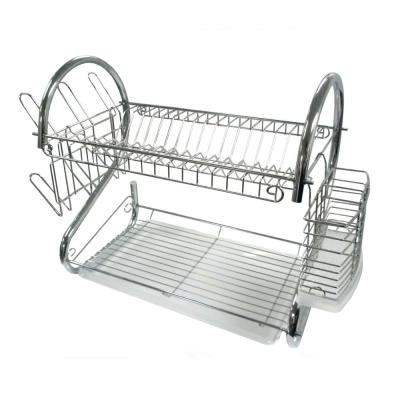 22 in. 2-Tier Chrome Tower Dish Rack
