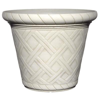 22 in. Antique Ivory Bingham Round Resin Planter