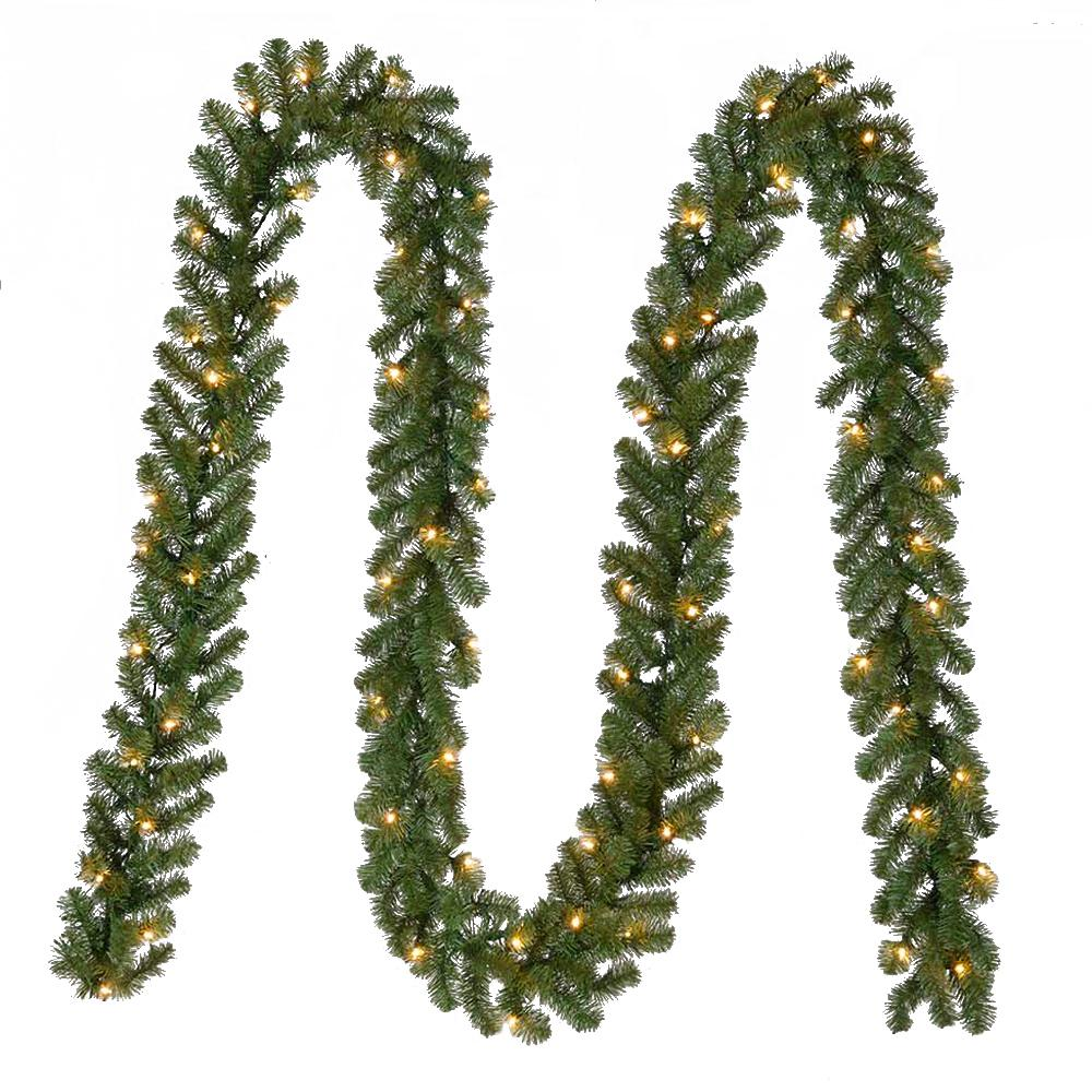 Home Accents Holiday 18 ft. Pre-Lit Artificial Kingston Christmas Garland with 280 tips and 70 Clear Lights