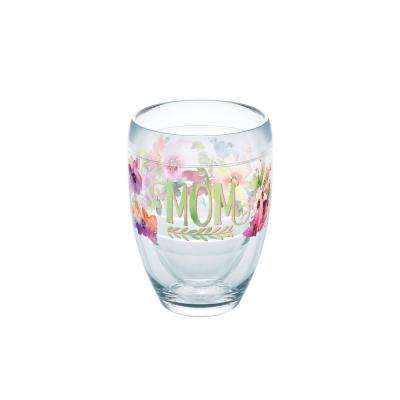 Mom Watercolor Floral 9 oz. Double-Walled Tritan Stemless Wine Glass