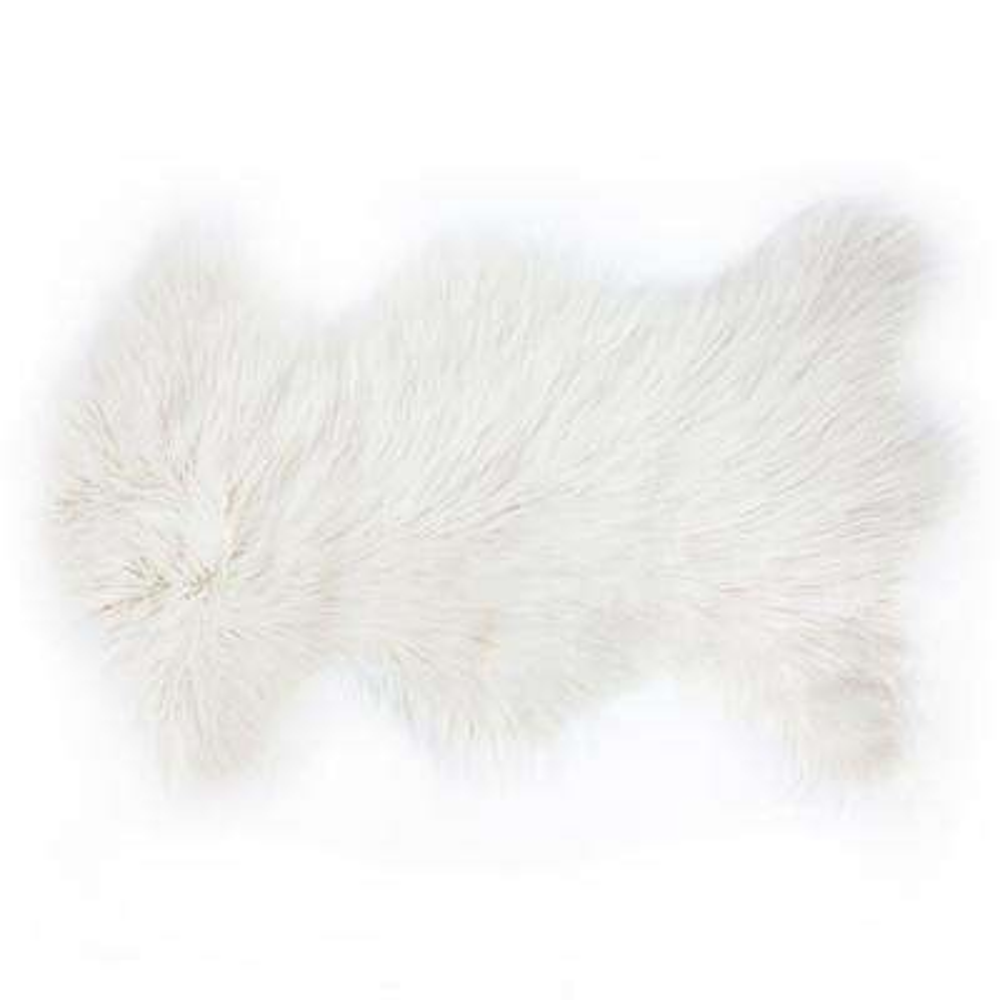Rockwall Stone White 2 ft. x 3 ft. Mongolian Sheepskin Faux Fur Single Indoor Rug