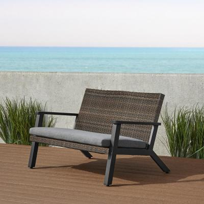 Norwood 51 in. 2-Person Black Aluminum Outdoor Bench with Gray Cushion