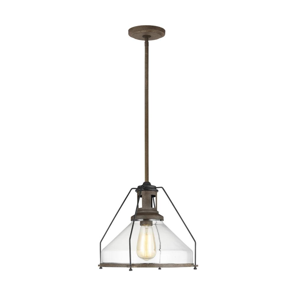Sea Gull Lighting Meridan 13 in. W x 11 in. H 1-Light Weathered Iron Pendant with Cone Clear Glass Shade and Industrial Cage Accent Detail