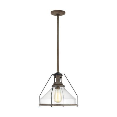 1-Light Weathered Iron Pendant with Round Clear Glass Shade
