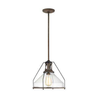 Meridan 13 in. W x 11 in. H 1-Light Weathered Iron Pendant with Cone Clear Glass Shade and Industrial Cage Accent Detail