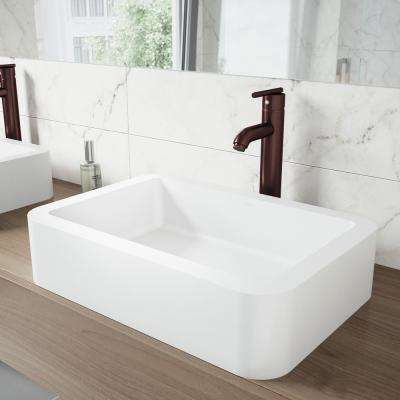 White Petunia Matte Stone Vessel Bathroom Sink and Seville Bathroom Vessel Faucet in Oil Rubbed Bronze