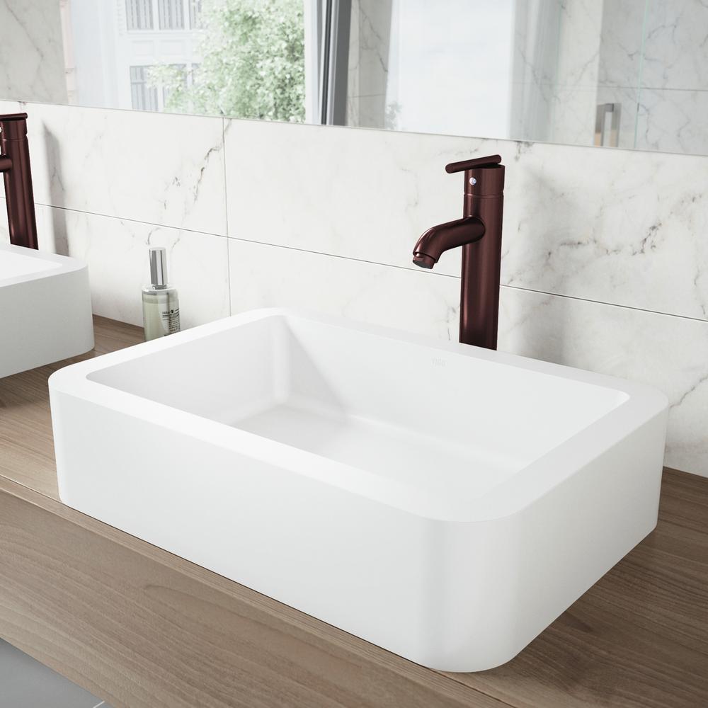 Petunia Matte Stone Vessel Sink and Seville Bathroom Vessel Faucet in Oil Rubbed Bronze