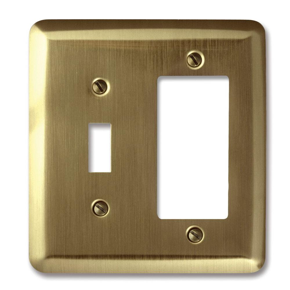 Amerelle Steel 1 Toggle 1 Decora Wall Plate - Brushed Brass