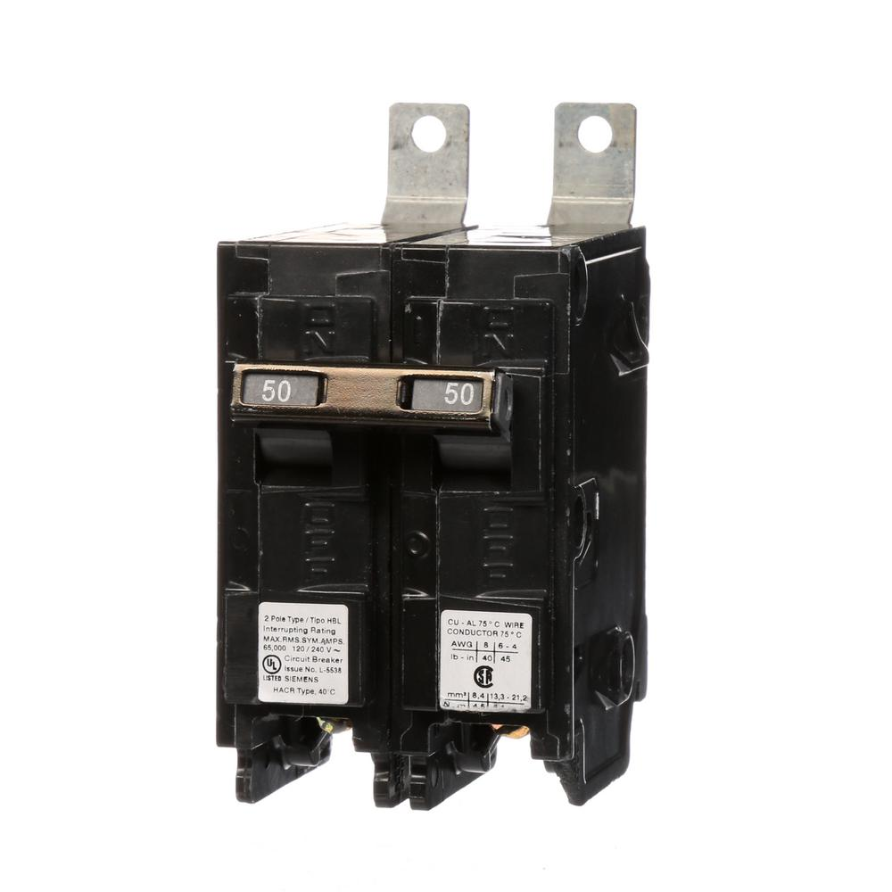 siemens 50 amp 2 pole type hbl 65 ka circuit breaker b250hh the home depot. Black Bedroom Furniture Sets. Home Design Ideas