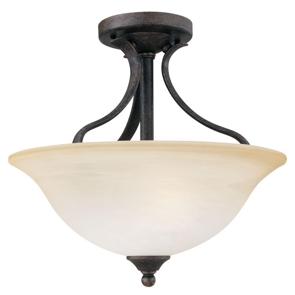 Prestige 2-Light Sable Bronze Ceiling Semi-Flush Mount Light