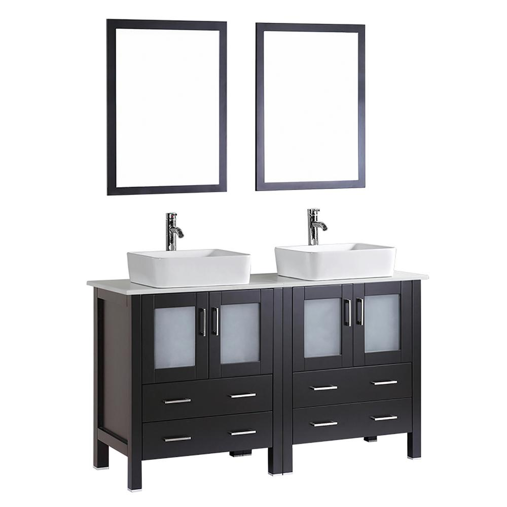 Bosconi Bosconi 59.1 in. Double Vanity in Espresso with Vanity Top with White Basin and Mirror