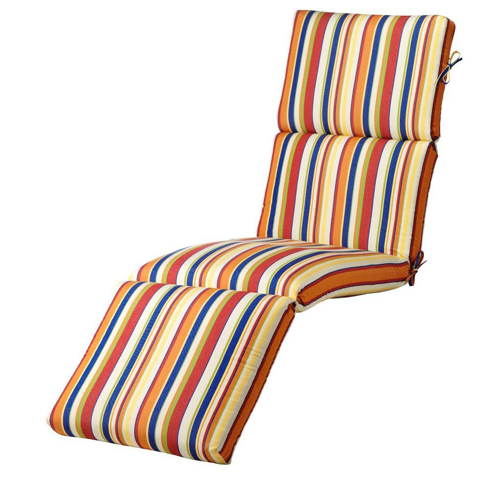 Home Decorators Collection Carnival Stripe Outdoor Chaise Large Outdoor Cushion