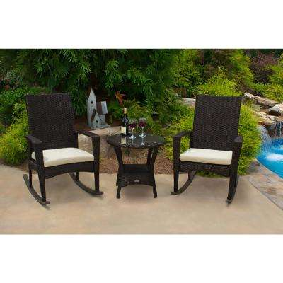 Bayview Pecan 3-Piece Wicker Outdoor Rocking Chair Set with Tan Cushion