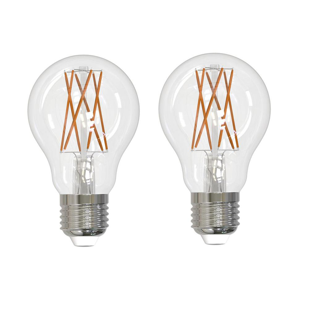 Bulbrite 60-Watt Equivalent Warm White Light A19 Dimmable Filament JA8 LED Light Bulb (2-Pack)