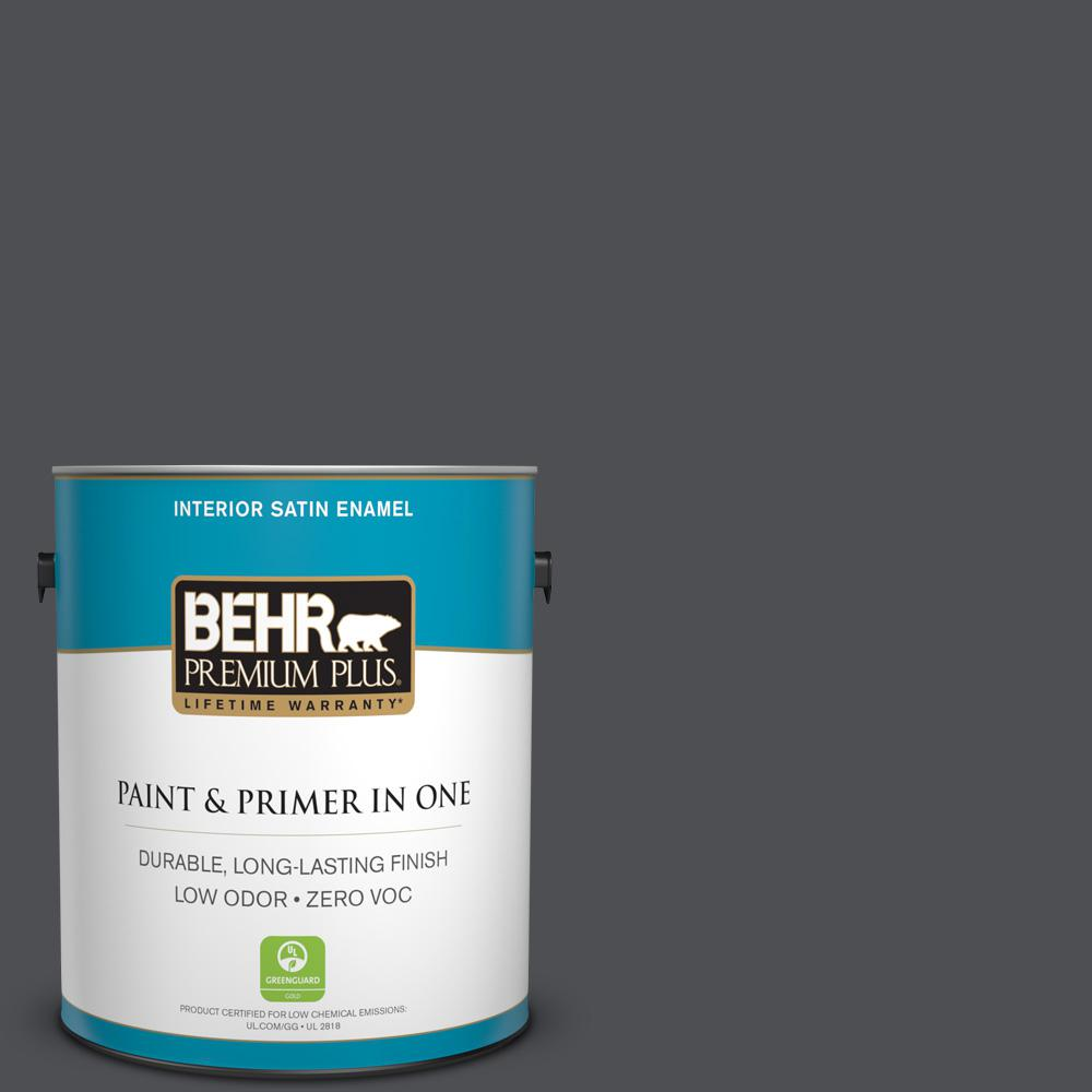 1 gal. #PPU18-01 Cracked Pepper Zero VOC Satin Enamel Interior Paint