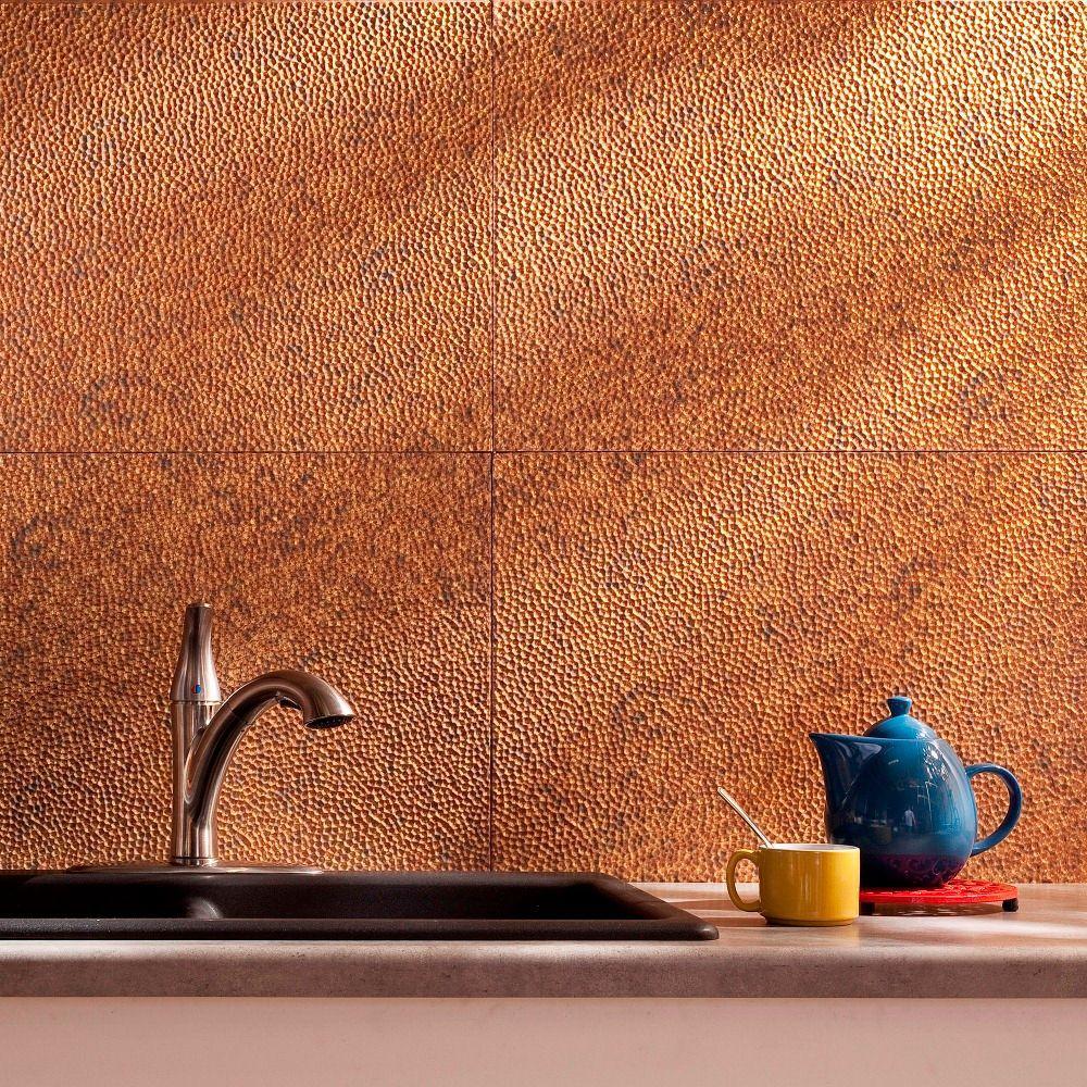 24 in. x 18 in. Hammered PVC Decorative Backsplash Panel in Cracked Copper