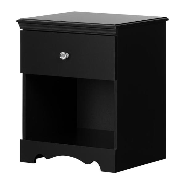 South Shore Crystal 1 -Drawer Matte Black Nightstand