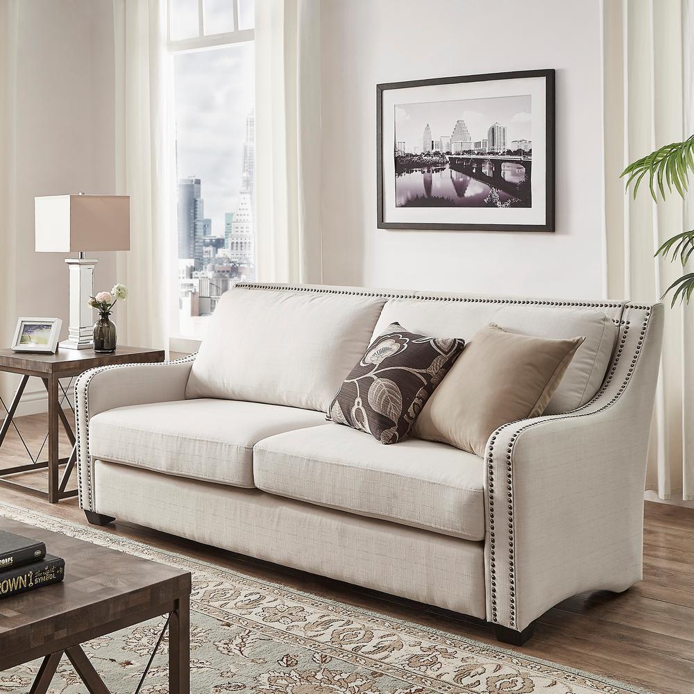 HomeSullivan Sloane 1-Piece Off-White Linen Sofa by