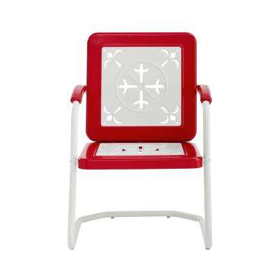 Azalea Red Metal Outdoor Lounge Chair