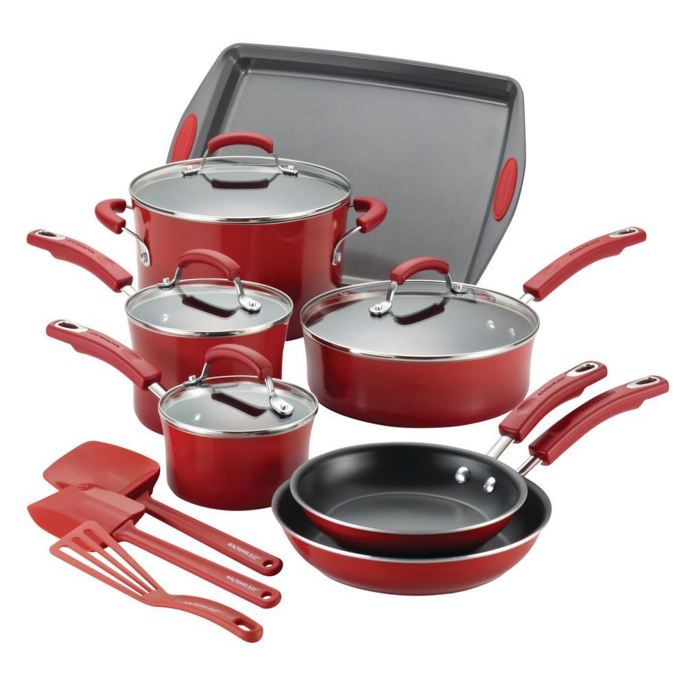 Classic Brights 14-Piece Aluminum Nonstick Cookware Set in Cranberry Red Gradient