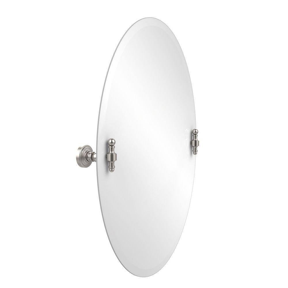 Retro-Wave Collection 21 in. x 29 in. Frameless Oval Tilt Mirror