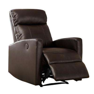 Sean Modern Leather Infused Small Power Reading Recliner, Brown