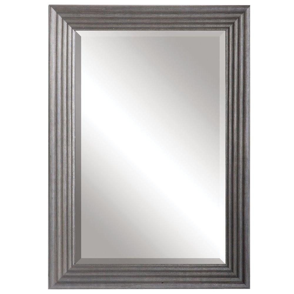 Global Direct 34 in. x 24 in. Rubbed Silver Wood Rectangular Framed Mirror