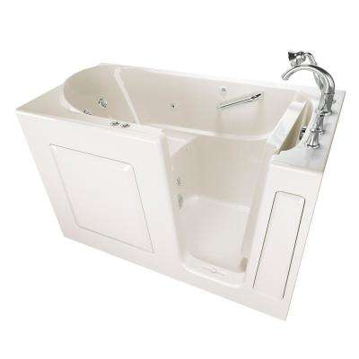 Exclusive Series 60 in. x 30 in. Right Hand Walk-In Whirlpool and Air Bath Tub with Quick Drain in Linen