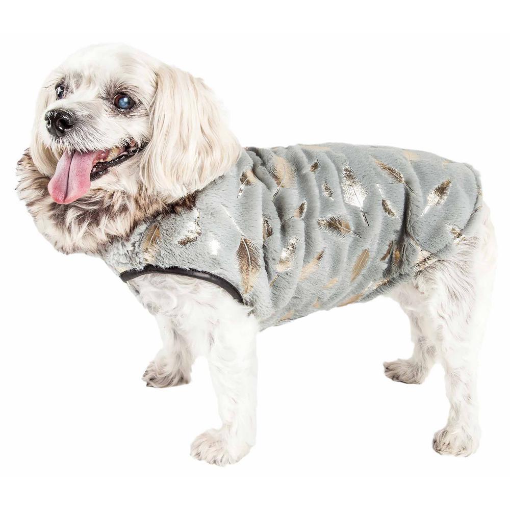 Medium Luxe Gold-Wagger Gold-Leaf Fur Dog Jacket Coat
