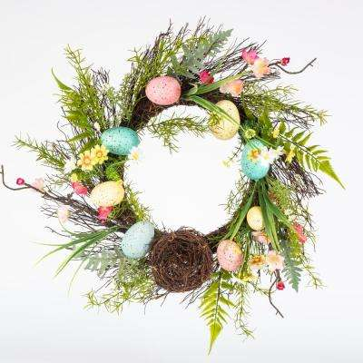 22 in. Easter Wreath with Speckled Eggs and Nest