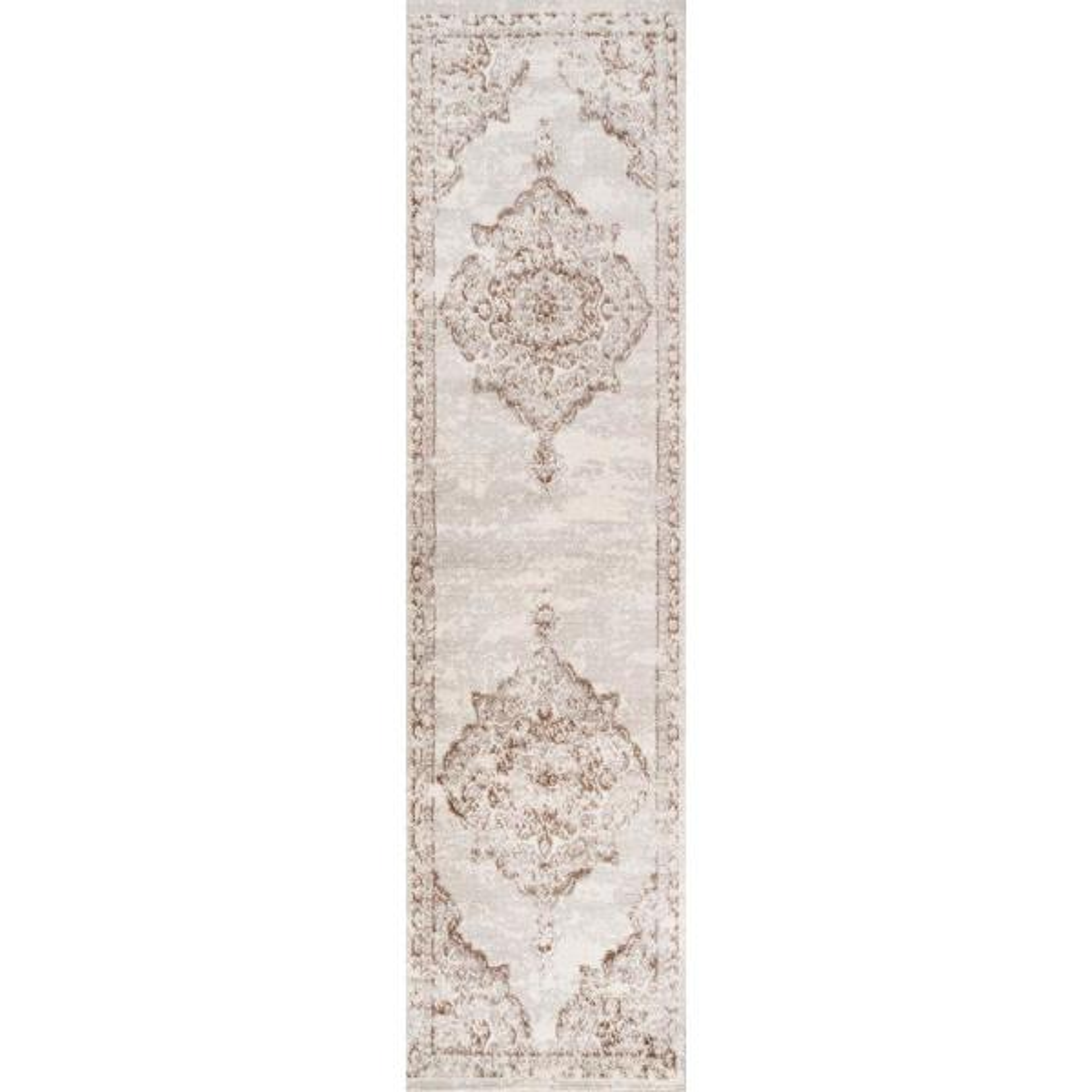 Alhambra Ornate Medallion Modern Cream/Red 2 ft. x 8 ft. Runner Rug