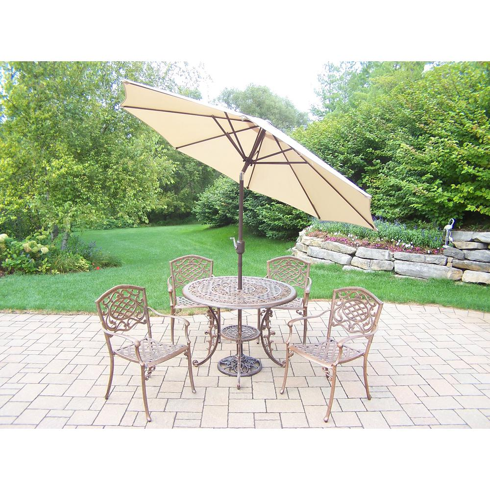 7-Piece Aluminum Outdoor Dining Set and Beige Umbrella
