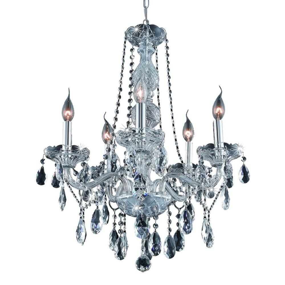 5-Light Chrome Chandelier with Clear Crystal