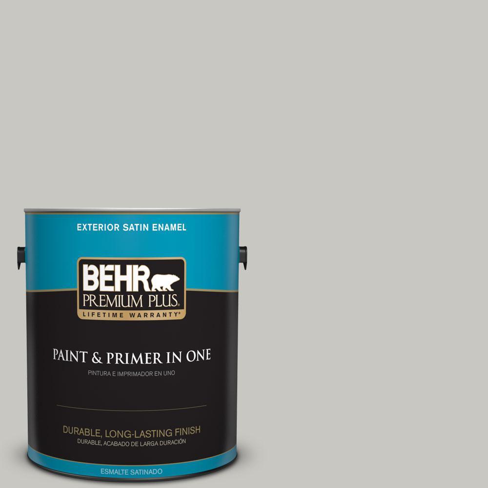 1-gal. #N360-2 Silver Marlin Satin Enamel Exterior Paint
