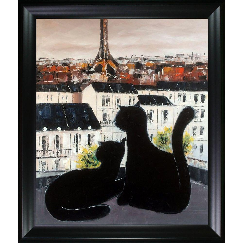ArtistBe Black Cat with His Pretty on Paris Roofs III Reproduction with Black Matte Frameby Atelier de Jiel Canvas Print, Multi-color was $694.5 now $274.55 (60.0% off)