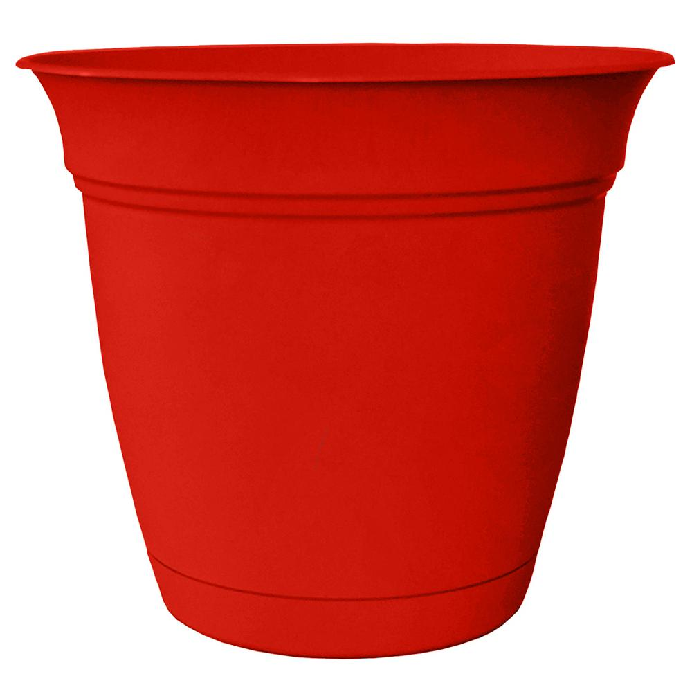 Belle 6 in. Dia. Strawberry Red Plastic Planter with Attached Saucer