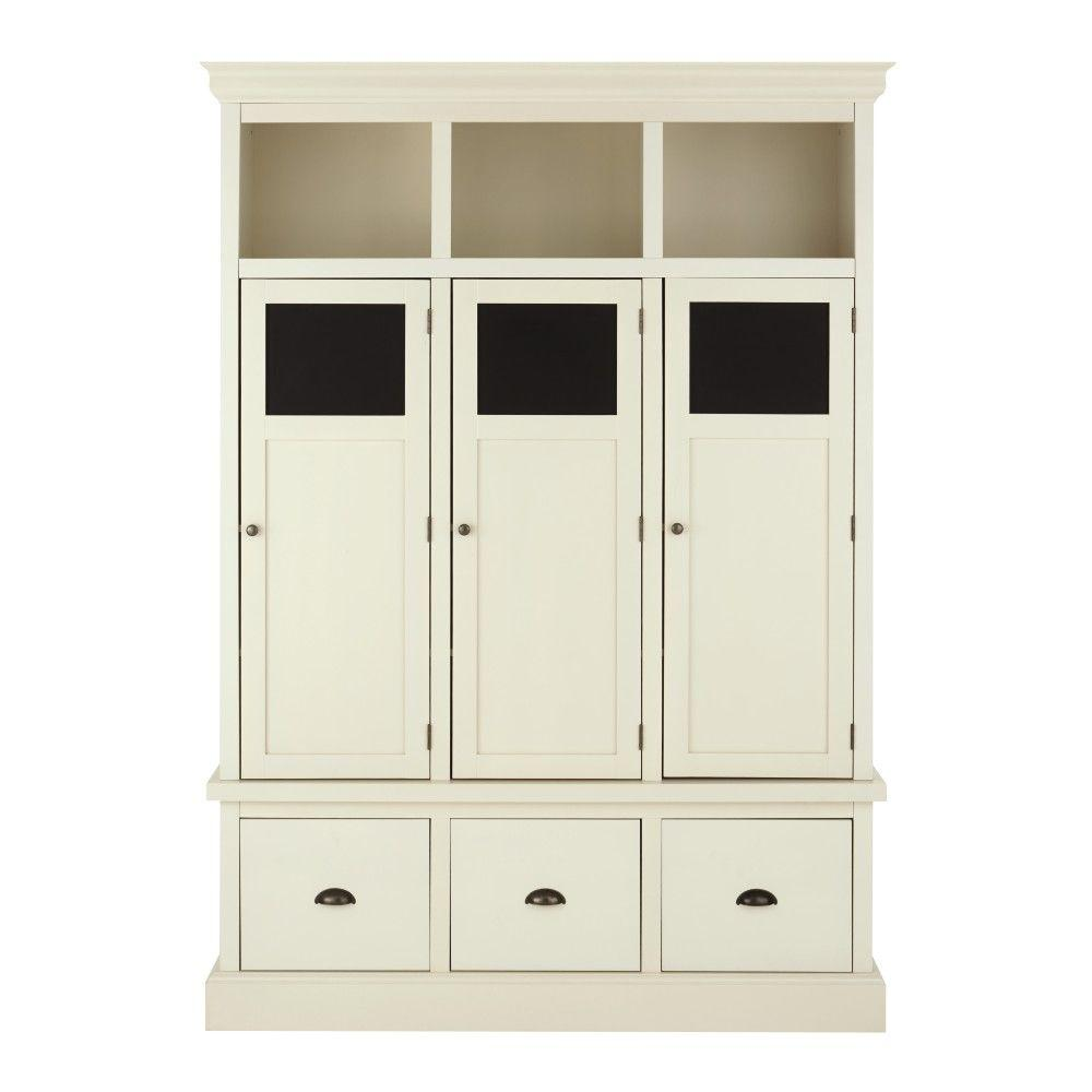 Home decorators collection shelton wood storage locker in for Wood lockers with doors