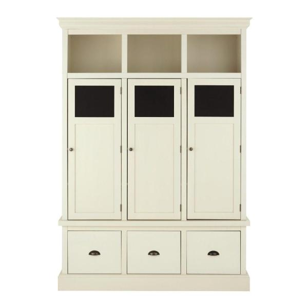 Home Decorators Collection Shelton Polar White Wooden Storage Locker With 3 Doors And Drawers