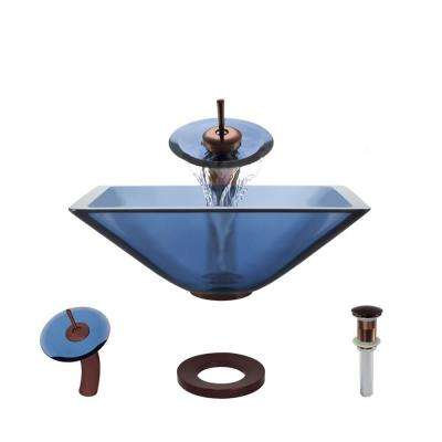 Glass Vessel Sink in Celeste with Waterfall Faucet and Pop-Up Drain in Oil Rubbed Bronze