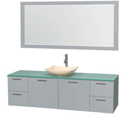 Amare 72 in. W x 22 in. D Vanity in Dove Gray with Glass Vanity Top in Green with Ivory Basin and 70 in. Mirror