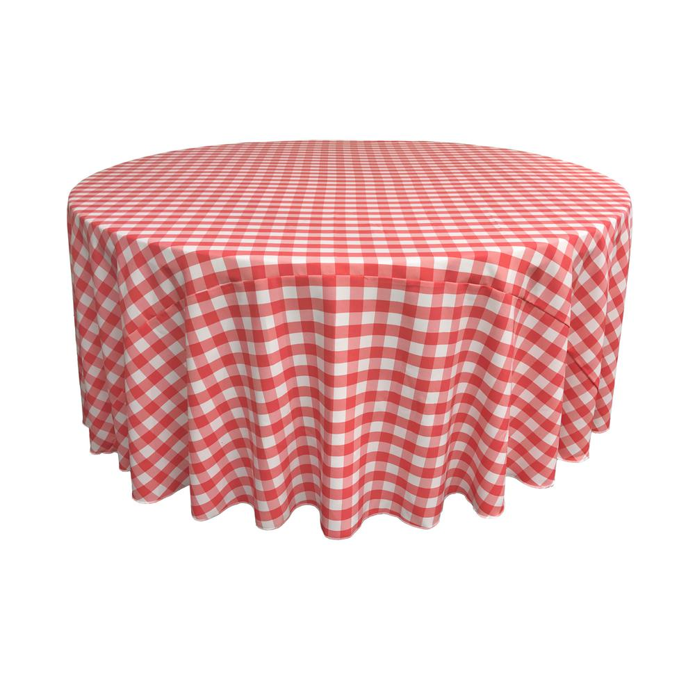L.A. Linen 132 in. White and Coral Polyester Gingham Chec...