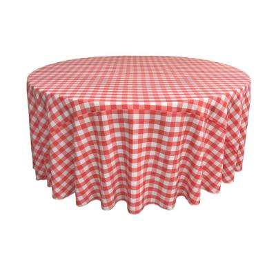 132 in. White and Coral Polyester Gingham Checkered Round Tablecloth